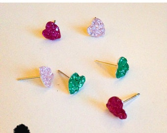 Simple CZ heart Earrings- Tiny Heart 925 Sterling Silver CZ Stud Earrings-