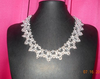 Handmade silver and crystal necklace