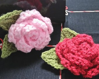 Crochet Rose Blossom Hair Clips