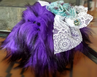 Stuffed Animal Spider Gothic Wedding Cute Purple Black Lace Flowers