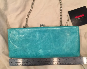 Absolutely BEAUTIFUL baby-bottom-soft turquoise leather clutch by HOBO
