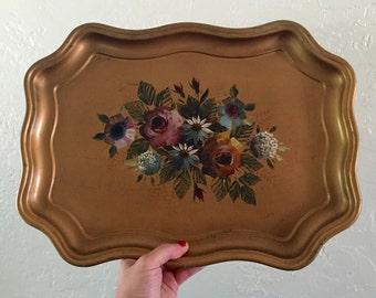 Vintage floral metal tray