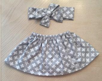 Fall 2016 'Anna' grey skirt and headband set