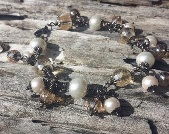 Ladies Champagne Crystal & Ivory Pearl Bracelet