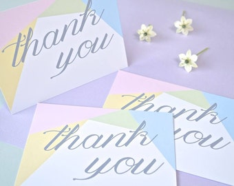 Pastel Geometric Thank You Notecards - pack of 8