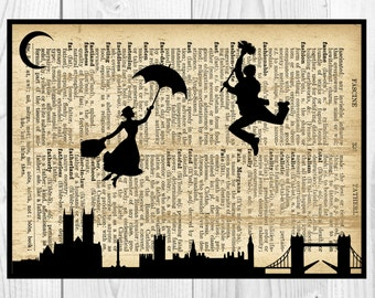 Mary Poppins,Musical Notes Art, Dictionary Art print, Instant Download