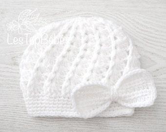 White Baby Girl Hat, Newborn Baby Girl Hat, Take Home Baby Girl Hat, Spring Baby Hat, Newborn Hat, White Baby Beanie Hat, Bow White Girl Hat