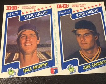 1987 M&M's Star Lineup Dale Murphy (Braves) Card #9 of 24 - Jose Conseco (A's) Card #10 of 24 - I will NOT be relisting this item