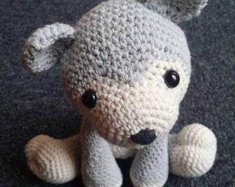 Wolf plush, wolf softie, amigurumi,crochet grey wolf, husky puppy,  baby shower gift