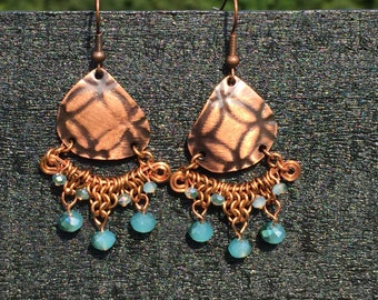Patterned copper earrings with blue rondelles