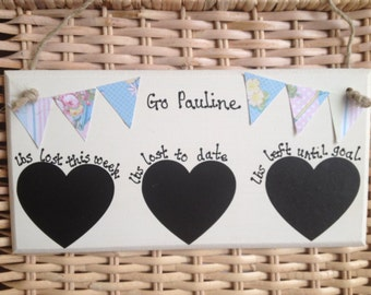Shabby Chic Weight Loss Personalised Plaque Chalkboard Floral Bunting Slimming World Weight watchers Scottish Slimmers lbs lost fitness diet