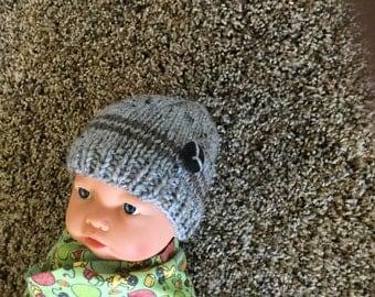 Newborn baby boy knit beanie hat