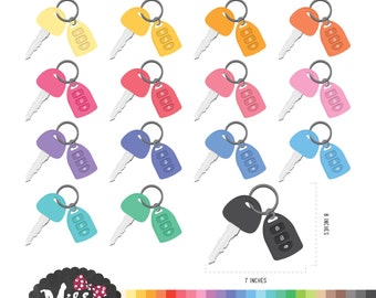 30 Colors Car Key Clipart - Instant Download