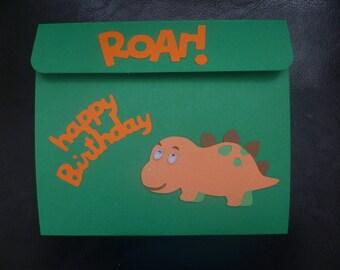 Dinosaur explosion birthday card