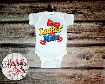 Ladies' Man Lips Bow Tie White Infant Lap Shoulder Creeper Bodysuit Sizes Newborn-24 Months