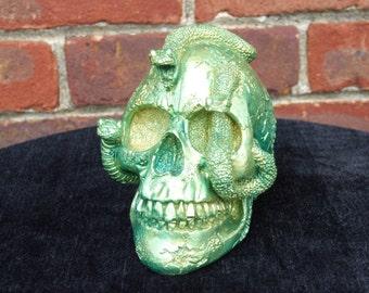 Hand Painted Green Medusa Snake Skull
