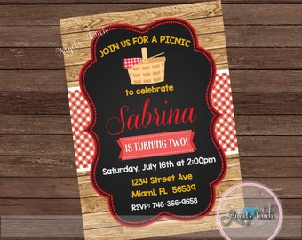 Picnic Birthday Party Invitation, Picnic Party Invitation, BBQ Party Invitation, Wood Picnic Invitation, Picnic Invitation, Digital File
