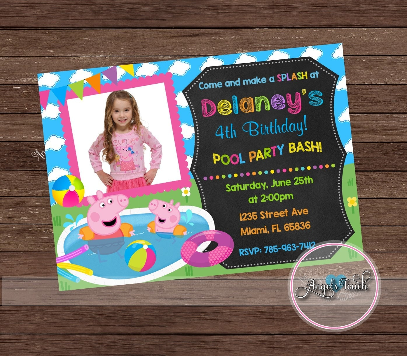 Peppa Pig and George Pool Party Invitation Peppa Pig Birthday – Pig Birthday Party Invitations