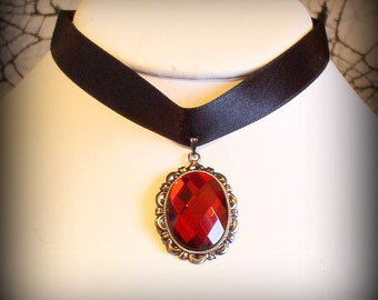 SALE 50% OFF - VAMPIRESS Gothic Vampire Vintage Faceted Glass Cabochon Choker with Black Satin Ribbon