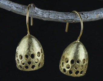 Gold Gum Nut With Holes Earrings