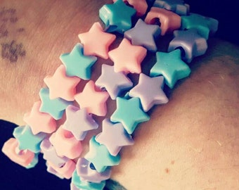 Set of 3 pastel star rave kandi bracelets