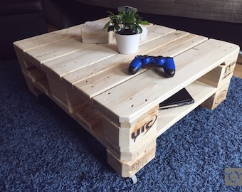 Upcycling range table 80 x 67 pine nature EPAL pallet furniture coffee table