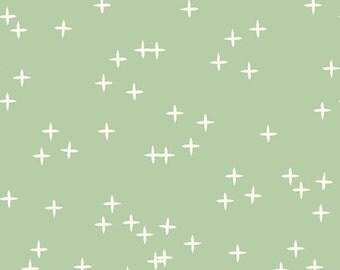 SALE!!!! Organic Cotton Fabric, Birch Fabric, Birch Wink Fabric, Half of a Metre, Mint Wink Fabric, Mod Basics