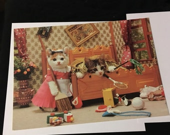 Lot of 3 vintage cute cat blank greeting cards. No envelopes.