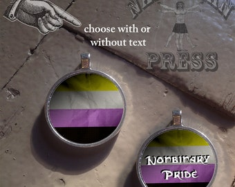 Nonbinary Pride Flag, Round Bezel Pendant, FREE ball chain included, Choice of Text, No Text, or Custom Text