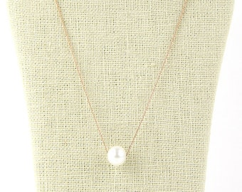 Pearl Necklace, Minimalist Necklace, Natural Freshwater Pearl, Pearl Pendant Necklace, 14K Gold Necklace, Bridal Jewelry