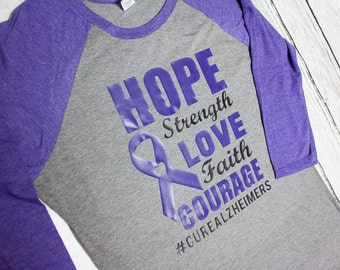 Alzheimer awareness shirt / Alzheimer raglan / purple womans Alzheimer shirt / hope Alzheimer shirt / hashtag alzheimer shirt