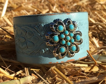 OOAK Upcycled Blue Leather Cuff Bracelet with a pretty Vintage Turquoise and Silver Brooch