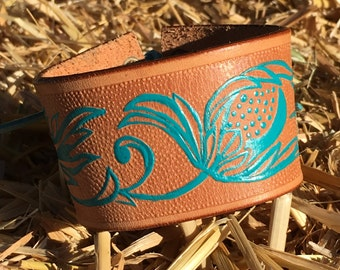OOAK Handpainted Upcycled Tooled Leather Belt Cuff
