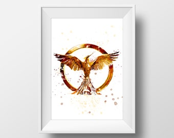 Watercolor Hunger Games Wall Art Print,Katniss Everdeen Art,Mockingjay,Movie Poster,Home Decor,Kids Room Decor,Phoenix Watercolor Painting