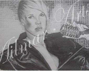 Pink, pop star, musician, pencil, portrait