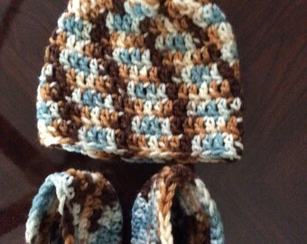 Crocheted Baby Hats/Boots Set