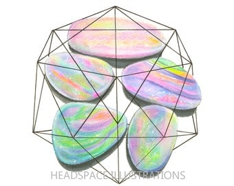 Geometric Opal Art - Colored Pencil Print by Headspace Illustrations