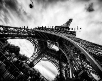 Eiffel Tower from below (black and white)