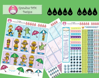 Rainy Days Stickers for the Classic Happy Planner