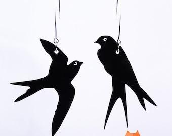 Asymmetrical Swallow Earrings Black Plexiglass And Silver