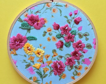 Blue Flower Floral Hand Embroidery over Fabric Hoop Art and Homewares