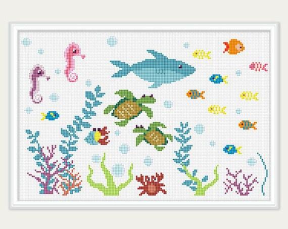 Sea Cross Stitch Pattern Cross Stitch Baby Fish