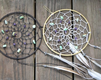 Medium Dreamcatcher / dreamcatcher (available with multiple authentic natural crystal gemstone beads)