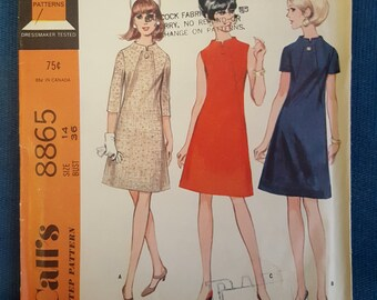 Vintage McCall's 8865 Step-By-Step 1960's Dress Sewing Pattern Misses' Size 14 Bust 36