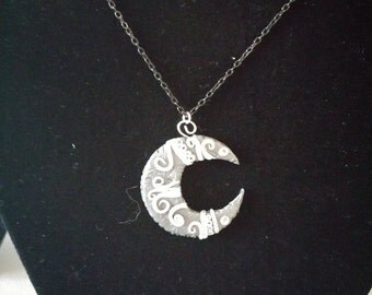 Moon necklace silver and black