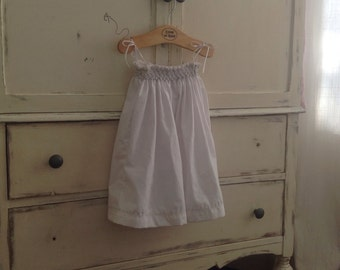 Little white dress smock embroidery hand 12 months