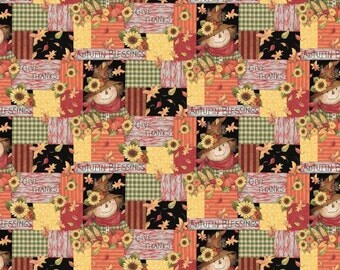 """Harvest Autumn Blessings Patch 100% cotton 44"""" wide fabric by the yard,h8"""
