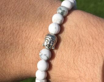New Howlite Beaded Bracelet With Silver Buddha