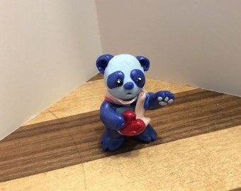 Miniature Polymer Clay Panda with Heart