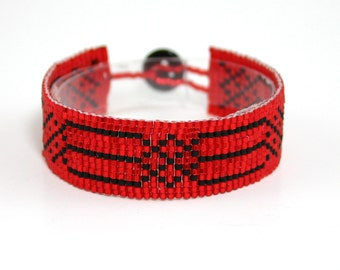 Red Square Stitched Bracelet - Red Stitched Bracelet - Red and Black Beaded Bracelet - Square Stitched Jewelry - Red Beadwoven Bracelet